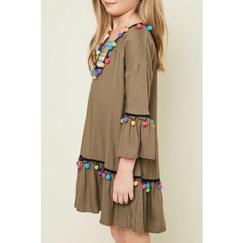 Hayden Olive Decorative Pom Pom Tunic