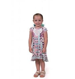 Pink Vanilla Ivory & Mint Tribal Print Dress