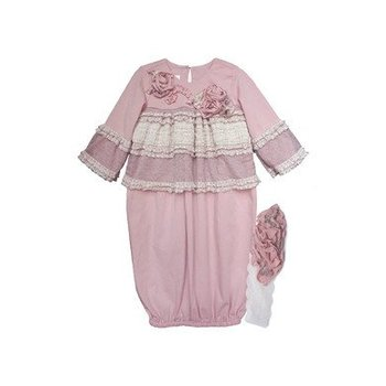 Isobella & Chloe Rosy Mauve Layette  Gown with Headband