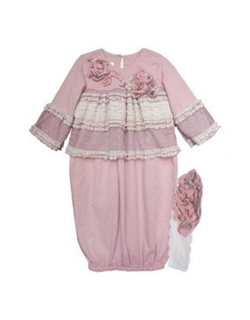 Isobella & Chloe Rosy Mauve Layette Gown - Peek-a-Bootique