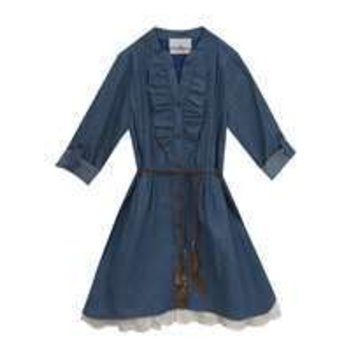 Rare Editions Denim Shirt-Dress With Ruffle Detail and Leather Belt