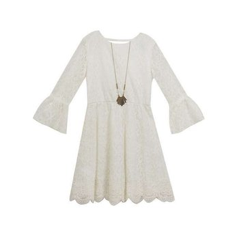 Rare Editions Ivory Lace Bell Sleeve Dress with Necklace