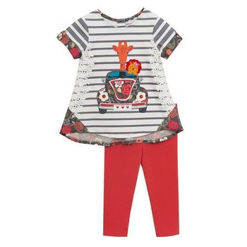 Rare Editions Detailed Luv Bug Top with Grey Striped Button Sleeve and Coral Pant Set