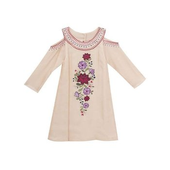 Rare Editions Blush Embroidered Cold Shouldered Dress