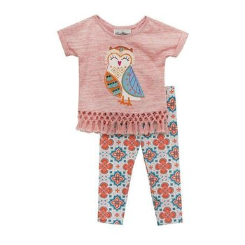 Pink Heather Fringe Embroidered Owl Design with Patterned Pant