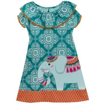 Rare Editions Teal and Ivory Printed Knit Dress with Detailed Elephant Design