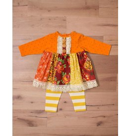 Peaches 'n Cream Fall Harvest Tunic And  Stripped Leggings