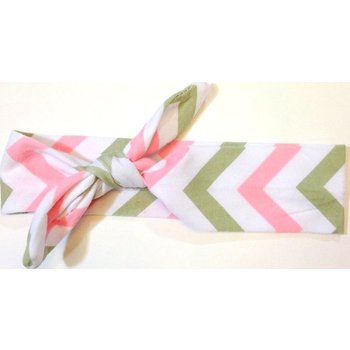 Grey and Pink Chevron Turban Headband