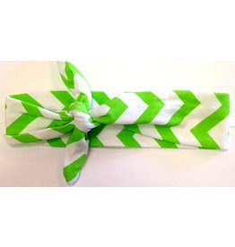Green and White Chevron Turban Headband