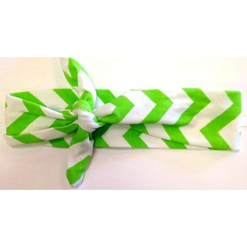 Green and White Chevron Turban Headband