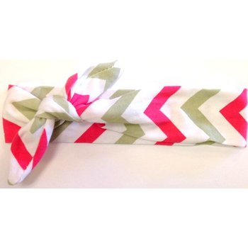 Hot Pink and Grey Chevron Turban Headband