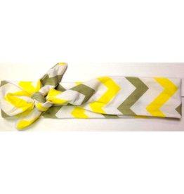 Yellow and Grey Chevron Turban Headband