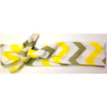 Yellow and Grey Chevron Turban Headband