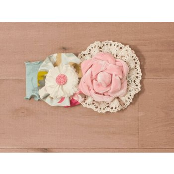 Peaches 'n Cream Floral Silhouette Headband with Pink Velvet Rose