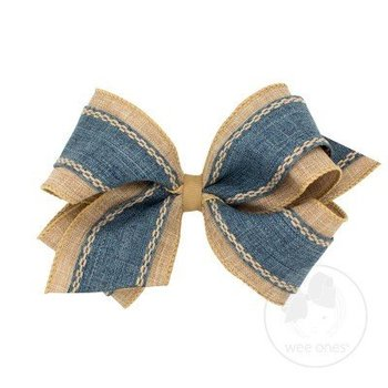 Wee Ones King Stitched Edge Denim Canvas Bow
