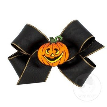 Wee Ones Black with Gold Metallic Edge Halloween Bow