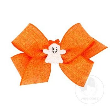 Wee Ones Halloween Orange Canvas Bow