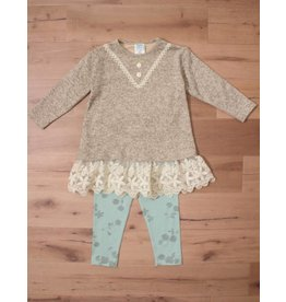 Peaches 'n Cream Mocha and Green Sweater Set Lace Detail