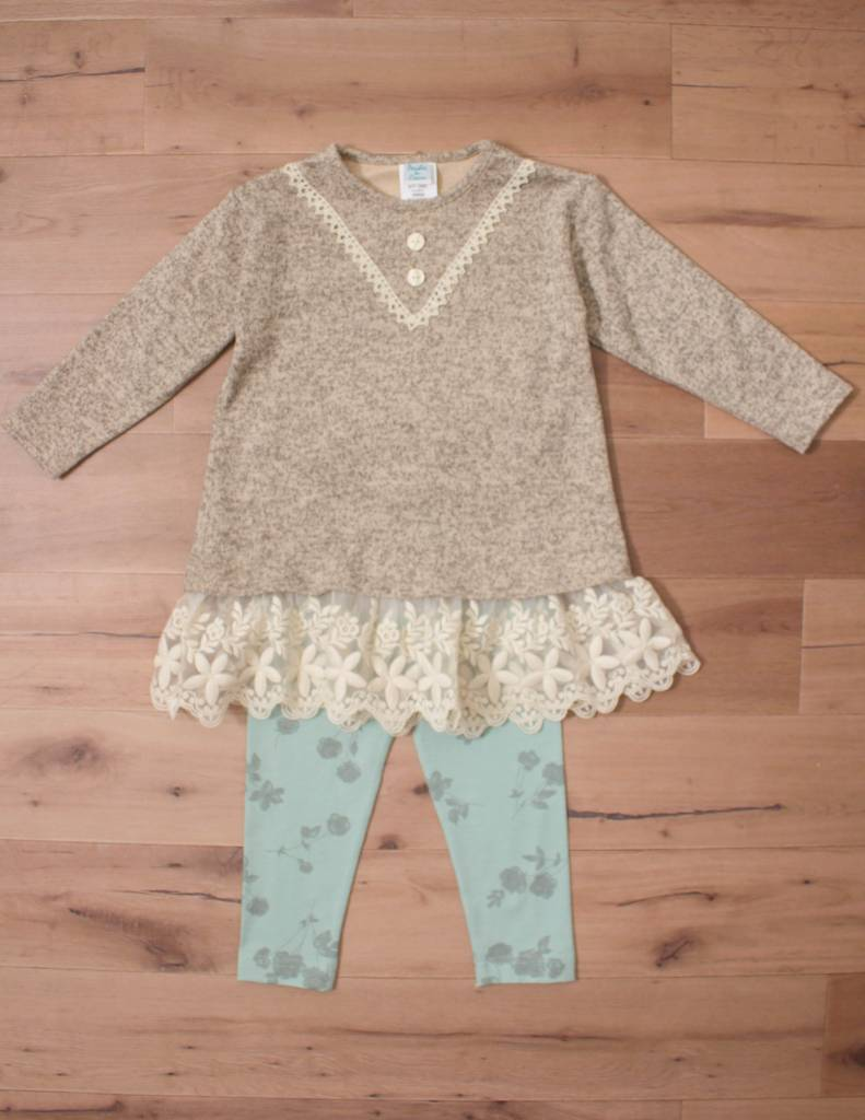 Peaches 'N Cream Mocha And Green Sweater Lace Set - Peek-a-Bootique