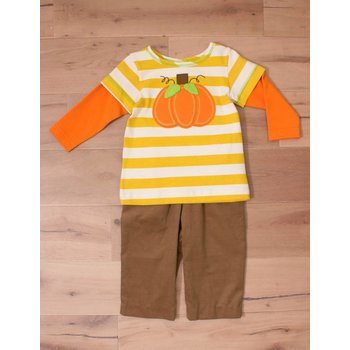 Boys n Berries Mustard Striped Pumpkin Set