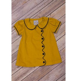 Three Sisters Mustard Corduroy Scalloped Dress