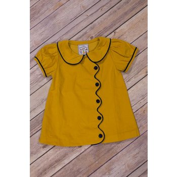 Three Sisters Mustard Corduroy Scalloped Dress