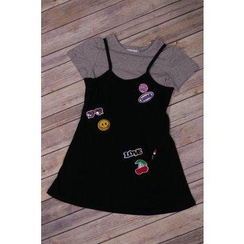 Rare Editions Patch Applique Slip Dress with Choker