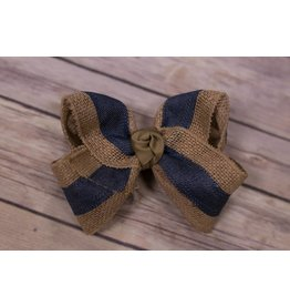One Stop Bow Shop Jumbo Denim and Burlap Bow