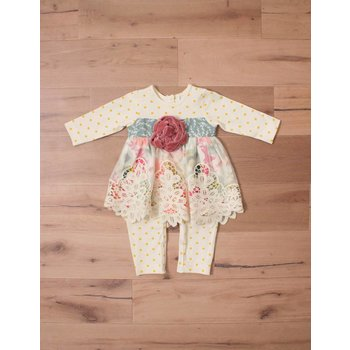Peaches 'n Cream Golden Polk a Dot Romper with Velvet Centered Rose Floral Pattern Under Lace Overlay