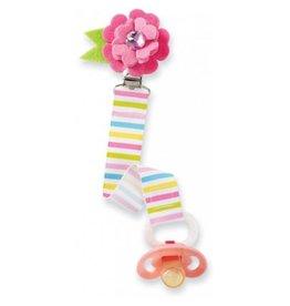 Mud Pie Pink Flower Striped Pacifier Clip