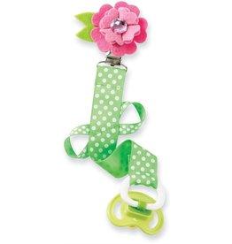 Mud Pie Pink Flower Green Ribbon Polka Dot Pacifier Clip