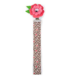Mud Pie Pink Flower w/ Leopard Print Pacifier Clip