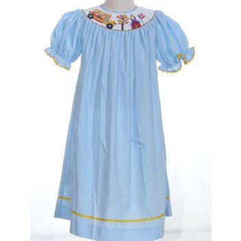 Mom & Me Back To School Light Blue Smocked Dress