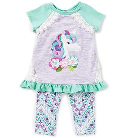 Rare Editions Lilac-Mint Unicorn Laced Outfit Printed Pant