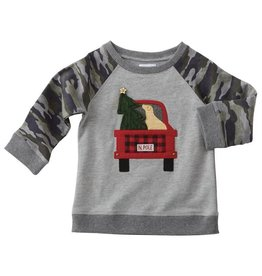 Mud Pie Camo Sleeve Truck Sweatshirt