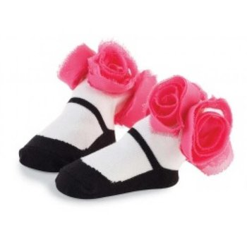 Mud Pie Rosette Sock-Black