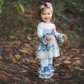 Haute Baby Sapphire Blue and Grey Designed Floral Swing Set with Embroidered Hem Detail Ruffle Cuff Pant