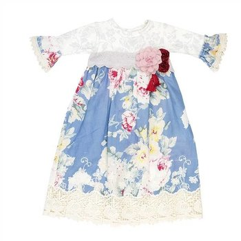 Haute Baby Sapphire Floral Print Gown with Embroidered Hem