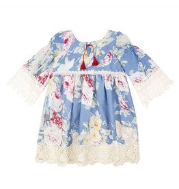 Haute Baby Sapphire Dress with Floral Design Ivory Lace Cuff Sleeve and Hem