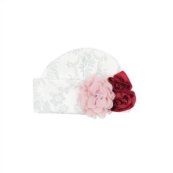 Haute Baby White Cap with Grey Design and Glimmer Flower