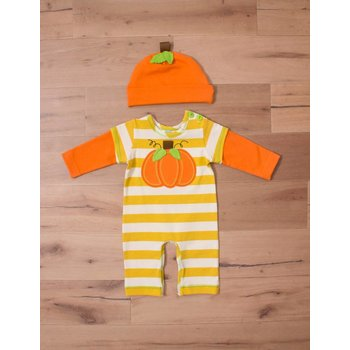 Peaches 'n Cream Harvest Romper with Orange Matching Hat and Pumpkin Patch