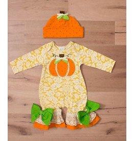 Peaches 'n Cream Pumpkin Romper with Orange Hat Set