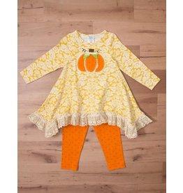 Peaches 'n Cream Pumpkin Harvest Tunic  Patch with Orange Polk a Dot Legging Set
