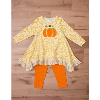 Peaches 'n Cream Pumpkin Harvest Tunic  Patch with Orange Polk a Dot Legging Set