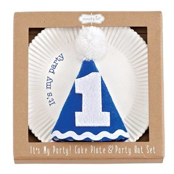 Mud Pie Blue Cake Plate and Party Hat Set