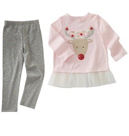 Mud Pie Rudolph Pom Pom Tunic Legging Set