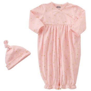 Mud Pie Pink and Gold Star Convertible Gown and Cap Set