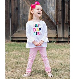 RuffleButts Applique Birthday Girl Belle Top