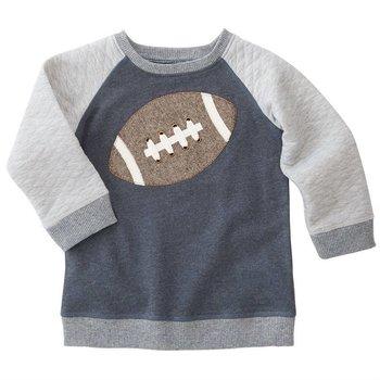 Mud Pie Blue Football Sweatshirt