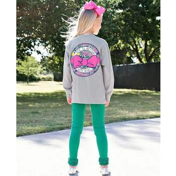 Ruffle Butts Better With Bows Gray Long Sleeve Tee